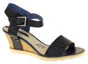 Womens Ladies Elisabeth Leather  Strappy Platform Shoes High Heel Wedge Sandals Thumbnail 3