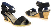 Womens Ladies Elisabeth Leather  Strappy Platform Shoes High Heel Wedge Sandals Thumbnail 5