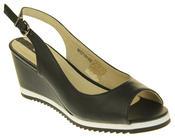 Womens Ladies Betsy Leather High Heel Peep-Toe Wedged Buckle Fastening Sandals Thumbnail 2