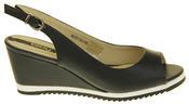 Womens Ladies Betsy Leather High Heel Peep-Toe Wedged Buckle Fastening Sandals Thumbnail 3