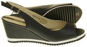 Womens Ladies Betsy Leather High Heel Peep-Toe Wedged Buckle Fastening Sandals Thumbnail 4