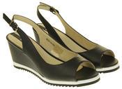 Womens Ladies Betsy Leather High Heel Peep-Toe Wedged Buckle Fastening Sandals Thumbnail 5