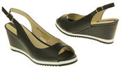 Womens Ladies Betsy Leather High Heel Peep-Toe Wedged Buckle Fastening Sandals Thumbnail 6