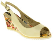 Womens Ladies Betsy Leather High Heel Peep-Toe Wedged Buckle Fastening Sandals Thumbnail 7