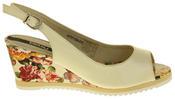 Womens Ladies Betsy Leather High Heel Peep-Toe Wedged Buckle Fastening Sandals Thumbnail 8
