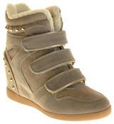 Womens Ladies Thick Faux Fur Lined Stud Design Hook & Loop Hidden Heel Wedge Ankle Boots Thumbnail 2