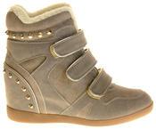 Womens Ladies Thick Faux Fur Lined Stud Design Hook & Loop Hidden Heel Wedge Ankle Boots Thumbnail 3