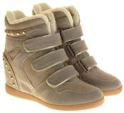 Womens Ladies Thick Faux Fur Lined Stud Design Hook & Loop Hidden Heel Wedge Ankle Boots Thumbnail 5