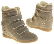 Womens Ladies Thick Faux Fur Lined Stud Design Hook & Loop Hidden Heel Wedge Ankle Boots Thumbnail 6