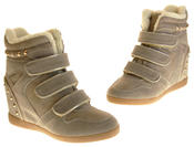 Womens Ladies Thick Faux Fur Lined Stud Design Hook & Loop Hidden Heel Wedge Ankle Boots Thumbnail 7