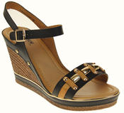 Womens Ladies Betsy High Heel Wedged Heeled Stud Design Sandals Size Thumbnail 2