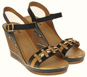 Womens Ladies Betsy High Heel Wedged Heeled Stud Design Sandals Size Thumbnail 5