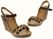 Womens Ladies Betsy High Heel Wedged Heeled Stud Design Sandals Size Thumbnail 7