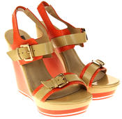 Womens Ladies Betsy High Heel Wedged Heeled Sandals Thumbnail 5