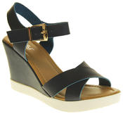 Womens Ladies Betsy Faux Leather Peep-Toe Wedge High Heel Strappy Sandals Thumbnail 2