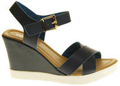 Womens Ladies Betsy Faux Leather Peep-Toe Wedge High Heel Strappy Sandals Thumbnail 3