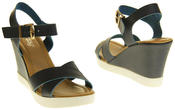 Womens Ladies Betsy Faux Leather Peep-Toe Wedge High Heel Strappy Sandals Thumbnail 4