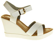 Womens Ladies Betsy Faux Leather Peep-Toe Wedge High Heel Strappy Sandals Thumbnail 5