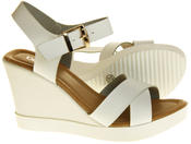 Womens Ladies Betsy Faux Leather Peep-Toe Wedge High Heel Strappy Sandals Thumbnail 6