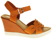 Womens Ladies Betsy Faux Leather Peep-Toe Wedge High Heel Strappy Sandals Thumbnail 7