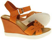Womens Ladies Betsy Faux Leather Peep-Toe Wedge High Heel Strappy Sandals Thumbnail 8
