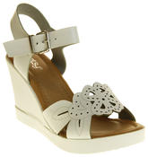 Womens Ladies Betsy Faux Leather Peep-Toe Wedge High Heel Strappy Sandals Thumbnail 9
