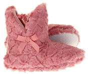Womens Ladies Fleece Lined Bow Design Warm Soft Faux Fur Cosy Comfort Boot Bootie Slippers Thumbnail 8