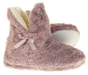 Womens Ladies Fleece Lined Bow Design Warm Soft Faux Fur Cosy Comfort Boot Bootie Slippers Thumbnail 10