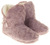 Womens Ladies Fleece Lined Bow Design Warm Soft Faux Fur Cosy Comfort Boot Bootie Slippers Thumbnail 11