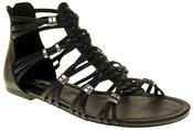 Womens Ladies Rocket Dog Black Gladiators Faux Leather Open Toe Strappy Sandals Thumbnail 2