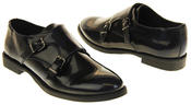 Womens Ladies Keddo Leather Double Buckle Formal Office Work Monk Shoes Thumbnail 6