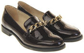 Womens Ladies Leather Slip On Flat Chain Work Office Casual Loafers Thumbnail 5
