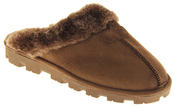 womens Ladies Winter Synthetic Fur Warm Comfort Mule Slippers Thumbnail 2