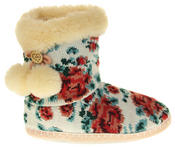Womens Ladies Fleece Lined Pom Pom Warm Soft Faux Fur Cosy Comfort Slipper Boot Bootie Thumbnail 3