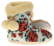 Womens Ladies Fleece Lined Pom Pom Warm Soft Faux Fur Cosy Comfort Slipper Boot Bootie Thumbnail 4