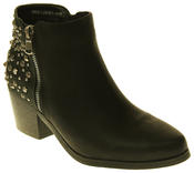 Womens Synthetic Leather Zip Fastening Stud Design Ankle Boots Thumbnail 2