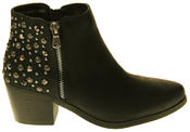 Womens Synthetic Leather Zip Fastening Stud Design Ankle Boots Thumbnail 3