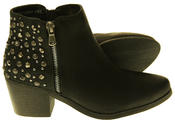 Womens Synthetic Leather Zip Fastening Stud Design Ankle Boots Thumbnail 4