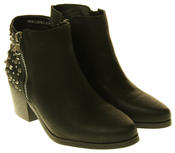 Womens Synthetic Leather Zip Fastening Stud Design Ankle Boots Thumbnail 5
