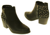 Womens Synthetic Leather Zip Fastening Stud Design Ankle Boots Thumbnail 6