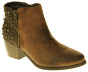 Womens Synthetic Leather Zip Fastening Stud Design Ankle Boots Thumbnail 7