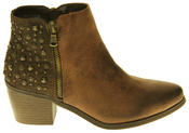 Womens Synthetic Leather Zip Fastening Stud Design Ankle Boots Thumbnail 8