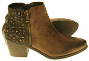 Womens Synthetic Leather Zip Fastening Stud Design Ankle Boots Thumbnail 9