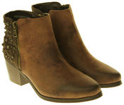 Womens Synthetic Leather Zip Fastening Stud Design Ankle Boots Thumbnail 10