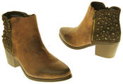 Womens Synthetic Leather Zip Fastening Stud Design Ankle Boots Thumbnail 11