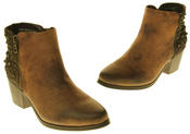 Womens Synthetic Leather Zip Fastening Stud Design Ankle Boots Thumbnail 12
