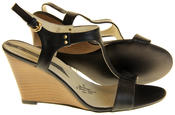 Womens Ladies Elisabeth Leather Wedged Sandals Thumbnail 4