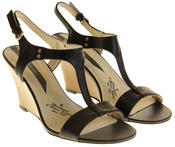 Womens Ladies Elisabeth Leather Wedged Sandals Thumbnail 5