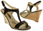 Womens Ladies Elisabeth Leather Wedged Sandals Thumbnail 6