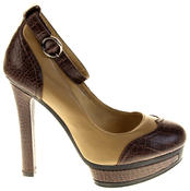 Womens Ladies Betsy Synthetic Leather Heeled Court Shoes Thumbnail 3